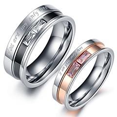 カップルリング クリスタル ステンレス鋼 模造ダイヤモンド 恋 ジュエリー 結婚式 パーティー 日常