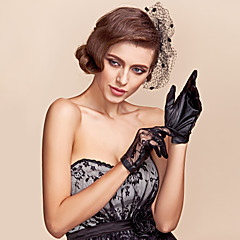 Wrist Length Fingertips Glove Lace / Faux Leather Party/ Evening Gloves Spring / Fall / Winter
