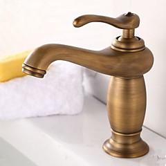 Antik Három lyukas Egy fogantyú egy lyukkal in Antik bronz Fürdőszoba mosogató csaptelep