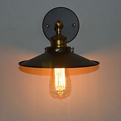 60W Minimalistisch Rustiek wandlamp met zwarte metalen kap