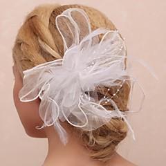 Femme / Jeune bouquetière Plume / Tulle / Imitation de perle Casque-Mariage / Occasion spéciale / Extérieur Fleurs