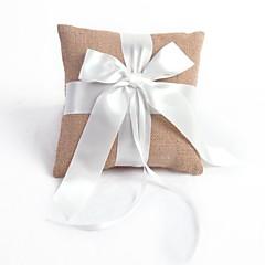 Linen Ribbon Bow Wedding Ring Pillow