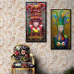 Menschen Gerahmtes Leinenbild / Gerahmtes Set Wall Art,PVC Schwarz Kein Passpartout Mit Feld Wall Art