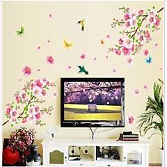 Doudouwo® Florals The Beautiful Peach Blossom And Butterflies Wall Sticker