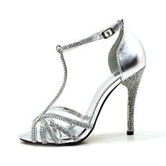 T-Strap Stiletto Heel Sandals With Rhinestone Women's Shoes