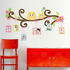 Doudouwo® Animals Cartoon The Happy Owl Frame Wall Sticker