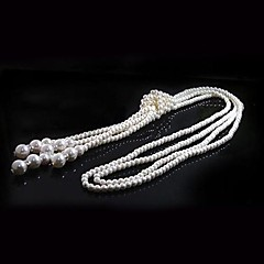 Women's Strands Necklaces Long Necklace Pearl Necklace Circle Pearl Imitation Pearl Elegant Multi Layer Jewelry ForWedding Party Daily