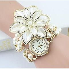 女性用 ファッションウォッチ ブレスレットウォッチ ダミー ダイアモンド 腕時計 模造ダイヤモンド クォーツ 合金 バンド フラワー 真珠 エレガント腕時計 白 ゴールド