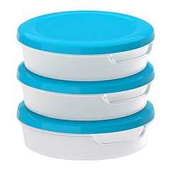 ronde transparante witte voedsel container met deksel polypropyleen plastic 3 pack, 13.5x13.5x4cm