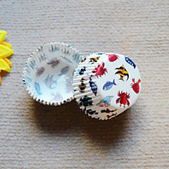 The Sea Fish Pattern Cupcake Wrappers-Set of 50