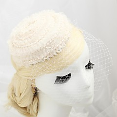Women's / Flower Girl's Lace / Imitation Pearl / Flannelette Headpiece-Wedding / Special Occasion / Outdoor Fascinators / Hats Round