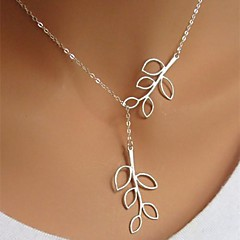 Women's Pendant Necklaces Leaf Silver Plated Alloy Adjustable Long Simple Style Fashion Silver Jewelry ForBirthday Business Gift Daily