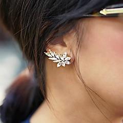 Mulheres Brincos Curtos Casamento Europeu Personalizado Gema Imitações de Diamante Formato de Folha Jóias Para Casamento Festa Diário