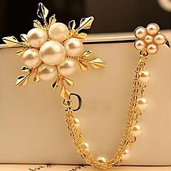 Mode Perle Schneeflocke Brosche