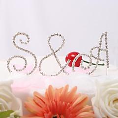 Kakepynt Monogram / Klassisk Par Bryllup / Jubileum / Bridal Shower / 15- og 16-års bursdag / Bursdag Rhinestone Hage Tema / Klassisk Tema