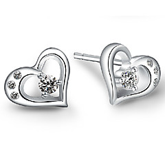 Stud Earrings Sterling Silver Simulated Diamond Heart Screen Color Jewelry 2pcs