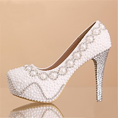 Women's Shoes Leatherette Spring / Summer / Fall / Winter Heels / Platform / Round Toe Wedding Stiletto Heel Rhinestone / PearlWhite /