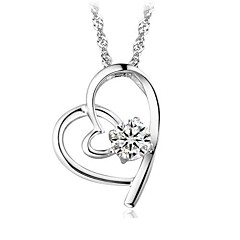 Unisex Silver Heart Pendant Chain With Crystal Necklace