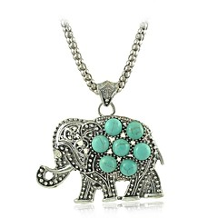 Chic Elephant Turquoise Pendant Necklaces Vintage Silver Chain Necklaces