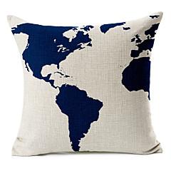 kék térkép mintás pamut / vászon dekoratív párna huzat