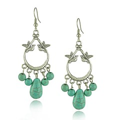 Chinese Character Antique Silver Jewelry A Pair Of Love Birds Turquoise Beads Drop Earrings