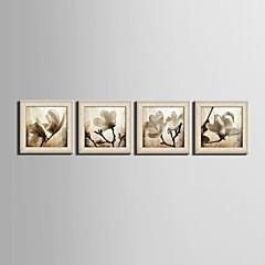 Blumenmuster/Botanisch / Fantasie Gerahmtes Leinenbild / Gerahmtes Set Wall Art,PVC Stoff Beige Kein Passpartout Mit Feld For Haus