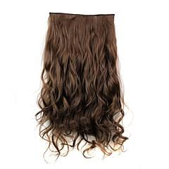 24 Zoll 120g langen braunen hitzebeständiger Synthesefaser geschweiften Klammer in Haarverlängerungen mit 5 Clips