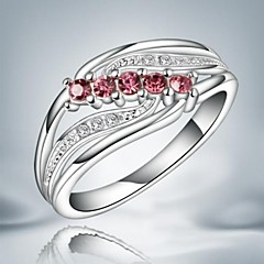 Fashion Red And White Zircon Silver Statement Ring For Wedding For Women (1 pc)