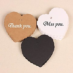 Heart Kraft Paper Hang Tags Lables for Bookmark Gift Bakery Packaging Wedding Party Price Cards Set of 50(More Colors)