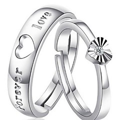 Anéis Homens / Casais / Mulheres Cristal Prata Prata 7 Prata