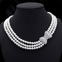 Damen Halsketten Ketten Kragen Perle Schleifenform Perle Künstliche Perle Strass Brautkleidung Elegant Mehrlagig Schmuck FürHochzeit