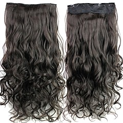 24 Inch 120g Long Brownish Black Heat Resistant Synthetic Fiber Curly Clip In Hair Extensions with 5 Clips