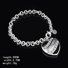 Fashion Sterling Silver Plated Heart  Dangle Women's Bracelet