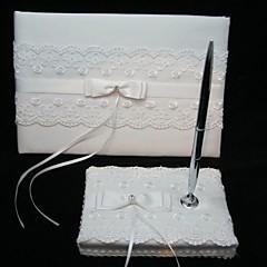 elegante bruiloft gastenboek en pen set met kant teken in boek