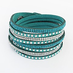 Women's Bangles Wrap Bracelet Leather Bracelet Tennis Bracelet Basic Friendship European Fashion Long Leather Rhinestone AlloyCircle