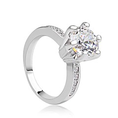 Ring Women's Cubic Zirconia Cubic Zirconia / Platinum Plated / Brass Cubic Zirconia / Platinum Plated / Brass 6 / 7 / 8 Yellow & White