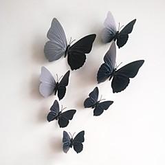 Wandaufkleber Wandtattoo, 12pcs / lot 3D PVC Magnet schwarze Schmetterling Aufkleber Hauptaufkleber DIY Wand-Aufkleber.