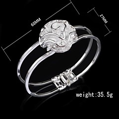 Fashion Sterling Silver Plated Rose Bangle Women's Bracelet