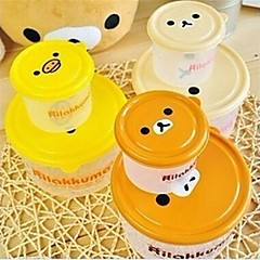 2 stk slappe bjørn bento boks madpakke, plast 12,8 × 6,5 × 6,5 cm (5,1 × 2,6 × 2,6 tommer) tilfældig art