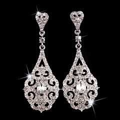 Vintage Party 1930's Wedding Princess Birde Crown Rhinestone Crystal Long Silver Earring