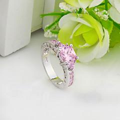 Maxi anel Zircão Zircônia Cubica Gema Moda Rosa claro Jóias Casamento Festa Diário Casual Esportes 1peça