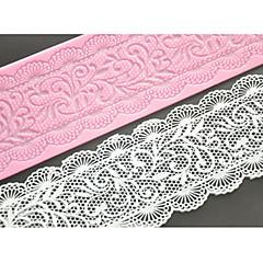 Vier-Spitze c Kuchenform Silikon Spitzen-Matte-Pad für Dekoration Kuchen backen, Silikonmatte Fondantkuchen Werkzeuge Farbe Rosa