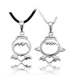 Couples' Silver Boy and Girl Cute Pendant Necklace  (2pcs)
