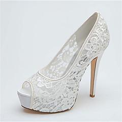 Dame Bryllup sko Hæler/Åpen tå/Platå høye hæler Bryllup Svart/Rosa/Elfenbenshvit/Hvit