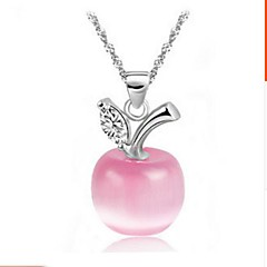 Ladies' Silver Opal Apple Pendant Necklace