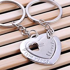 연인 발렌타인을위한 이중 심장 결혼식 열쇠 고리 키 체인 (한 쌍)