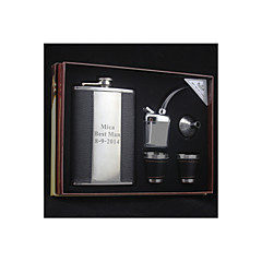 Gift Groomsman Groom/Groomsmen Personalized Graceful 6-pieces Quality Stainless Steel Black 9-oz Flask Gift Set