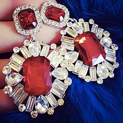 עגילי טיפה תכשיטי יוקרה סגנון חמוד אבן יקרה חיקוי יהלום לבן שחור אדום ירוק כחול תכשיטים ל Party