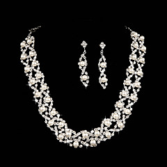 Elegant Angel Wing Pearl Necklace Wedding Jewelry Set