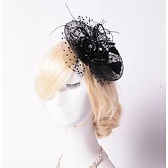 Femme Plume / Strass / Tulle / Filet Casque-Mariage / Occasion spéciale / Extérieur Fleurs / Chapeau 1 Pièce Rond
